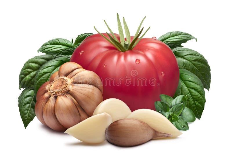 Tomaat, knoflook, basilicum, wegen royalty-vrije stock fotografie