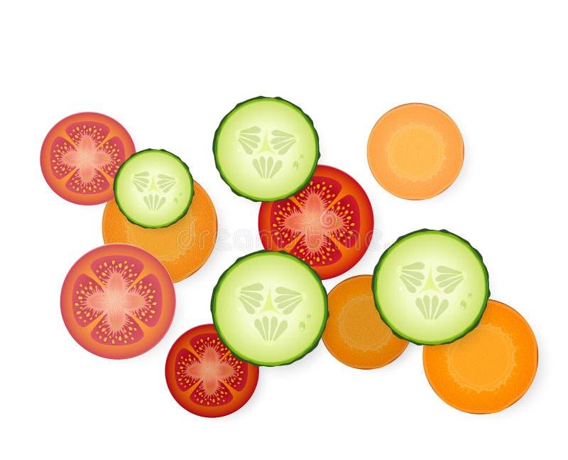 Tomaat, komkommer en wortelplakken op witte achtergrond, driedelig van schotel, royalty-vrije illustratie