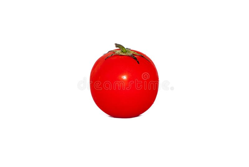 Tomaat op witte achtergrond wordt geïsoleerd die royalty-vrije stock afbeelding