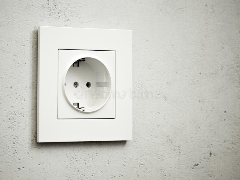 Tomada branca na parede cinzenta ilustração stock