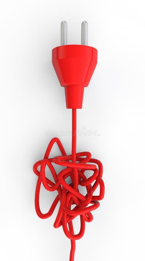 tomada 3d elétrica e fio tangled ilustração royalty free