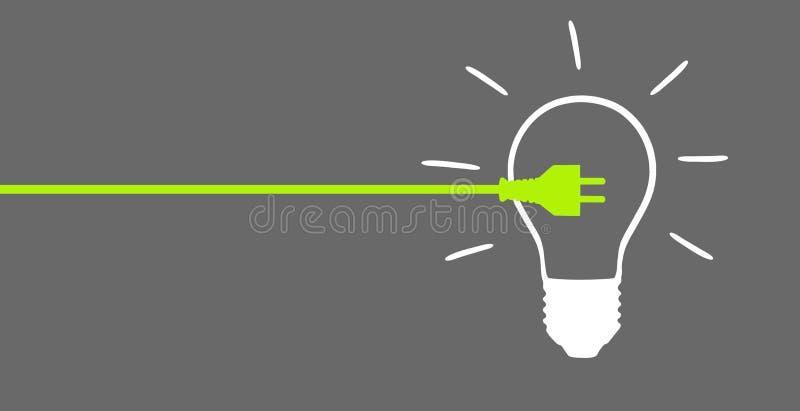 Tomada de energias verdes com lâmpada ilustração do vetor
