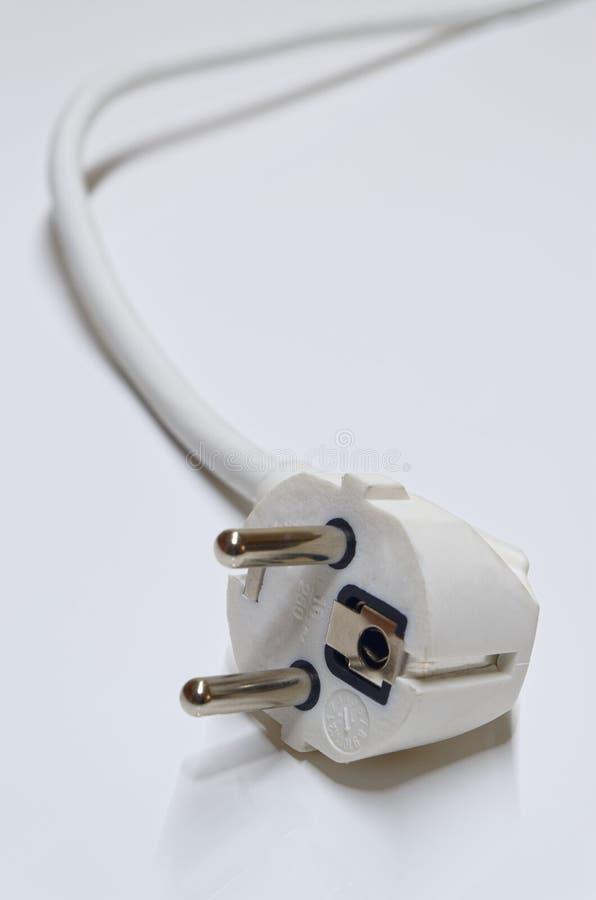 Tomada de poder branca no fundo branco fotografia de stock