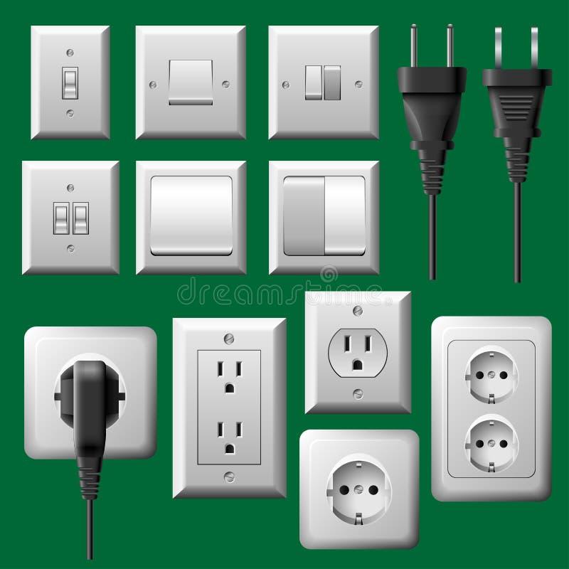 Tomada de potência, interruptor da luz e grupo elétrico da tomada ilustração stock