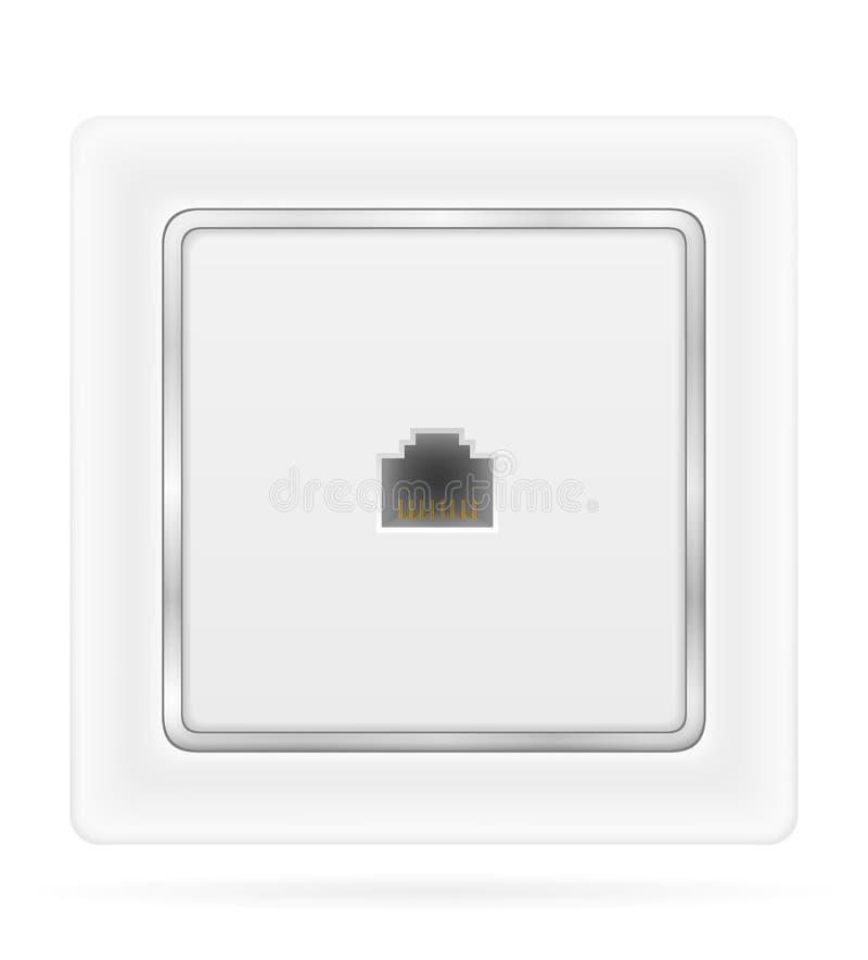 Tomada de soquete do telefone para a ilustração conservada em estoque do vetor da fiação interna da eletricidade ilustração do vetor