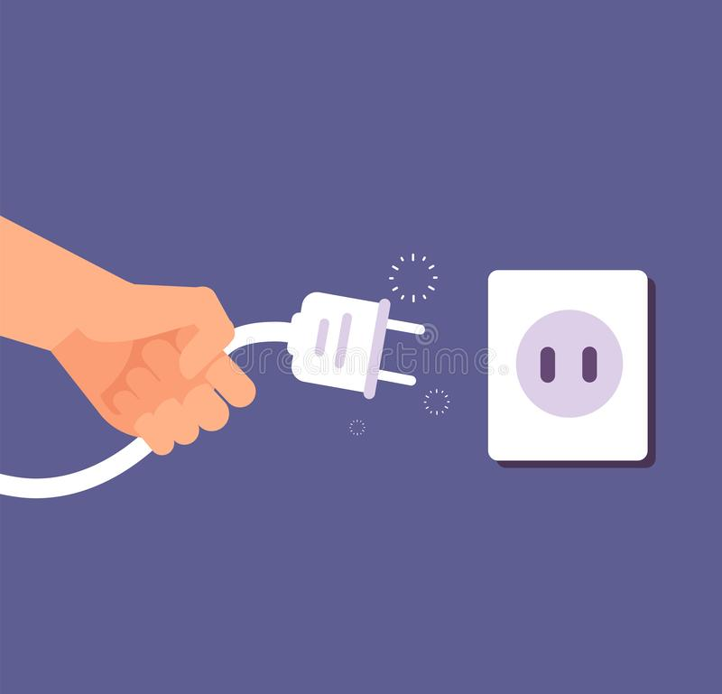 Tomada desligado Conexão ou desconexão da eletricidade com tomada e soquete do fio o erro 404, pagina não encontrado ilustração royalty free