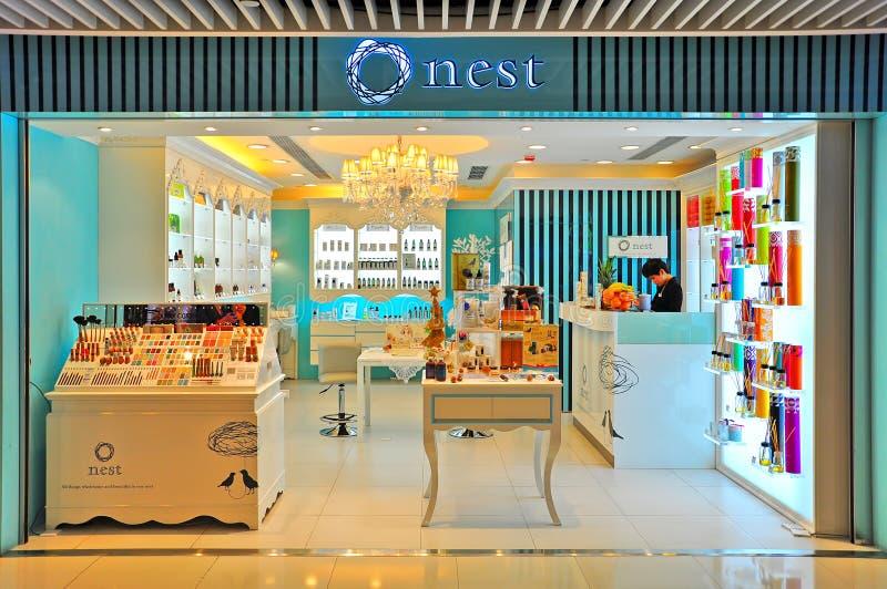 Tomada dos produtos do cuidado da beleza do ninho, Hong Kong imagem de stock