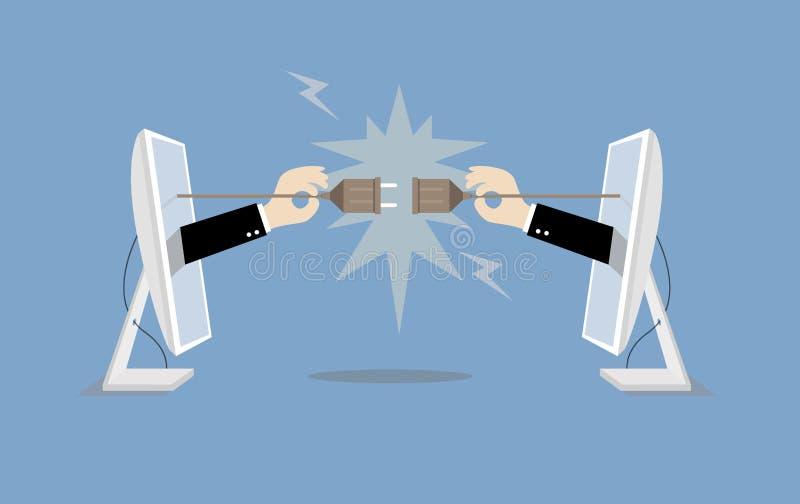 Tomada e tomada de conexão da posse do homem de negócios do computador ilustração do vetor