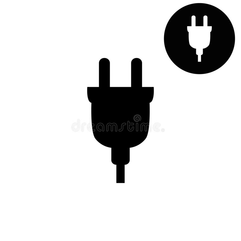 Tomada elétrica - ícone branco do vetor ilustração do vetor