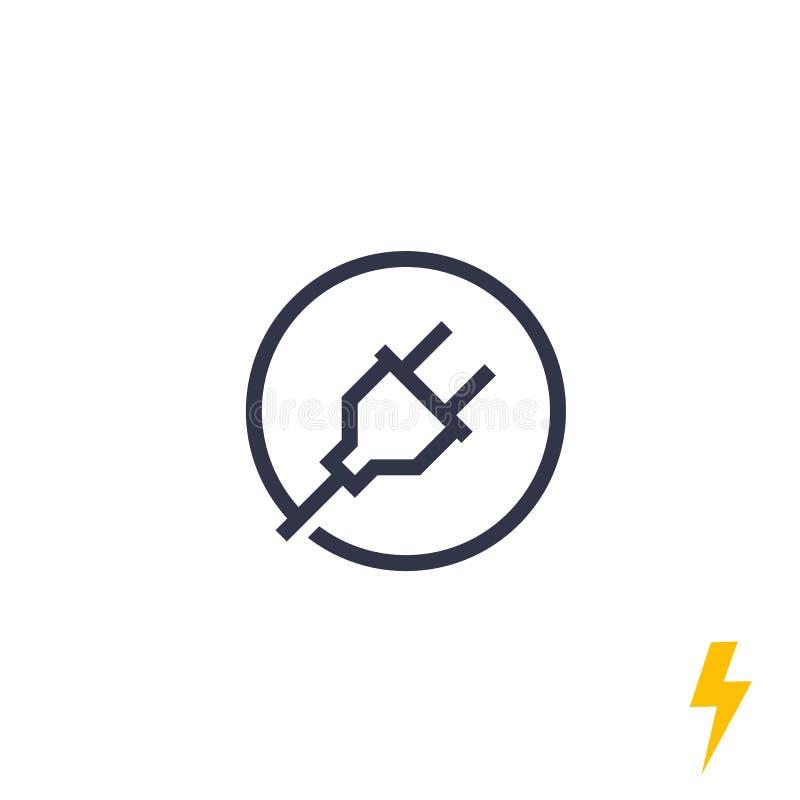 Tomada elétrica, ícone elétrico da linha elétrica ilustração stock