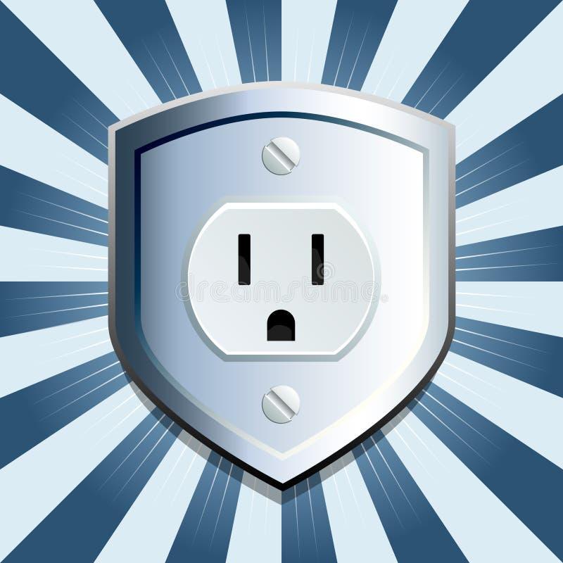 Tomada elétrica do protetor azul ilustração do vetor