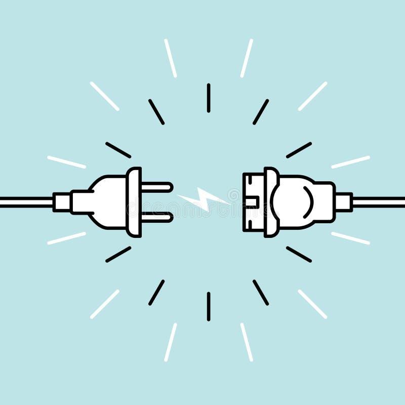 Tomada elétrica e soquete desconectados - a desconexão, perda de conecta, abertura bond ilustração do vetor