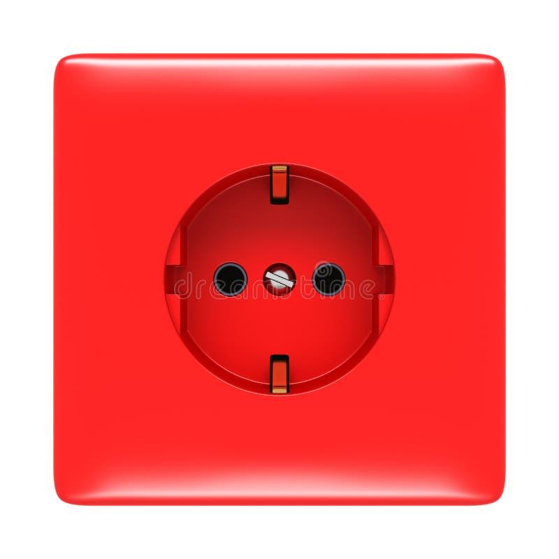 Tomada elétrica vermelha isolada ilustração do vetor