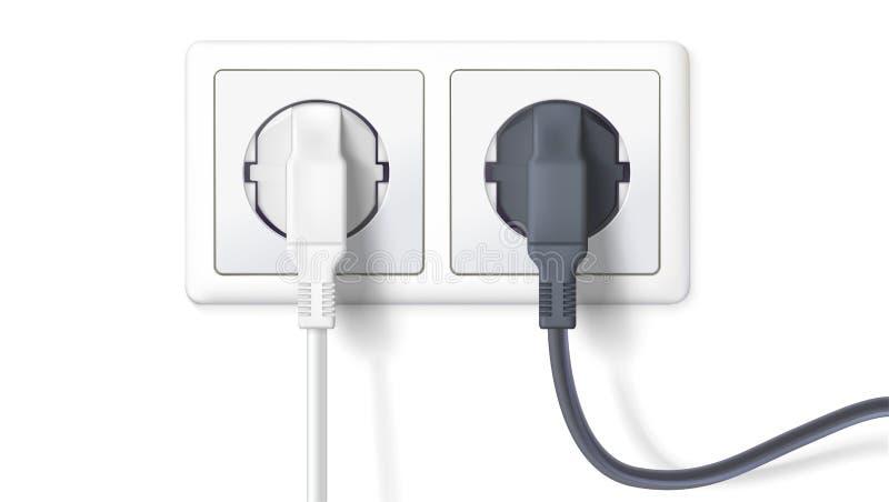 Tomadas preto e branco realísticas introduzidas na tomada elétrica, isolada no branco ilustração do vetor