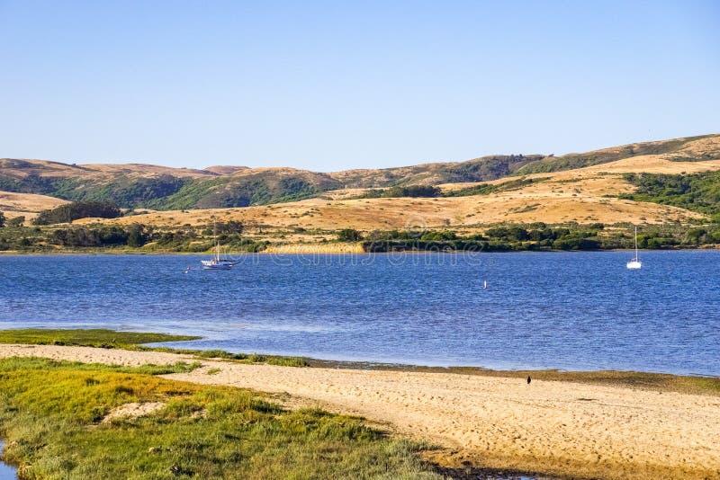 Tomales-Bucht gesehen von der Inverness-Küstenlinie, Kalifornien lizenzfreies stockfoto