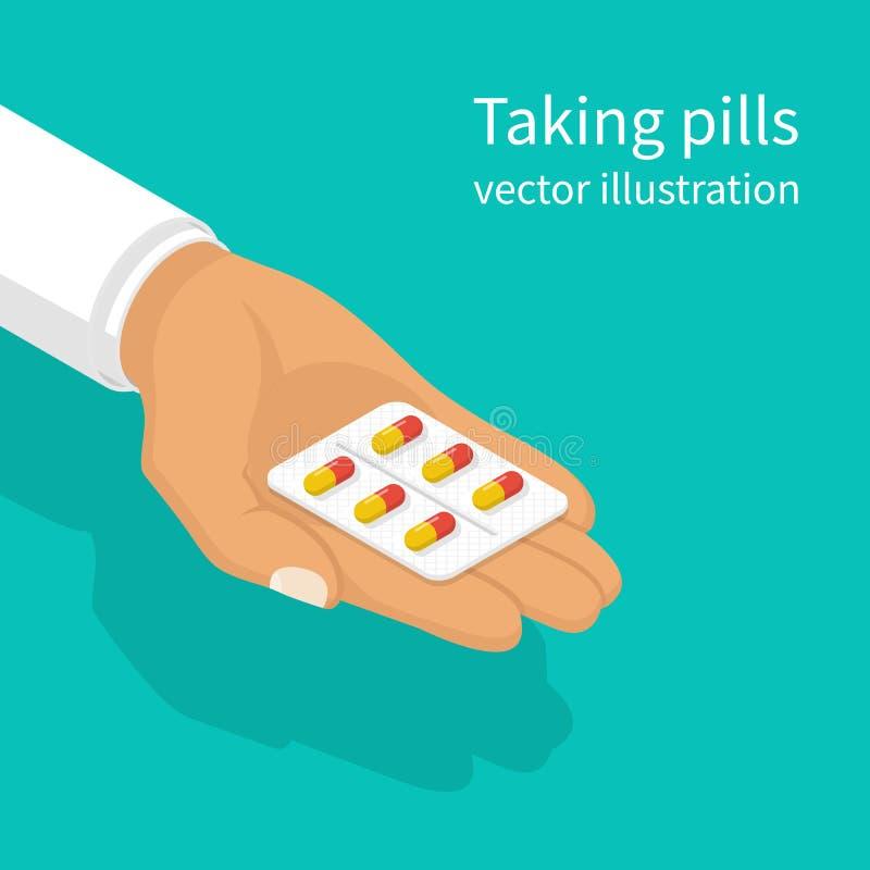 Tomando comprimidos O doutor guarda a cápsula da bolha ilustração do vetor
