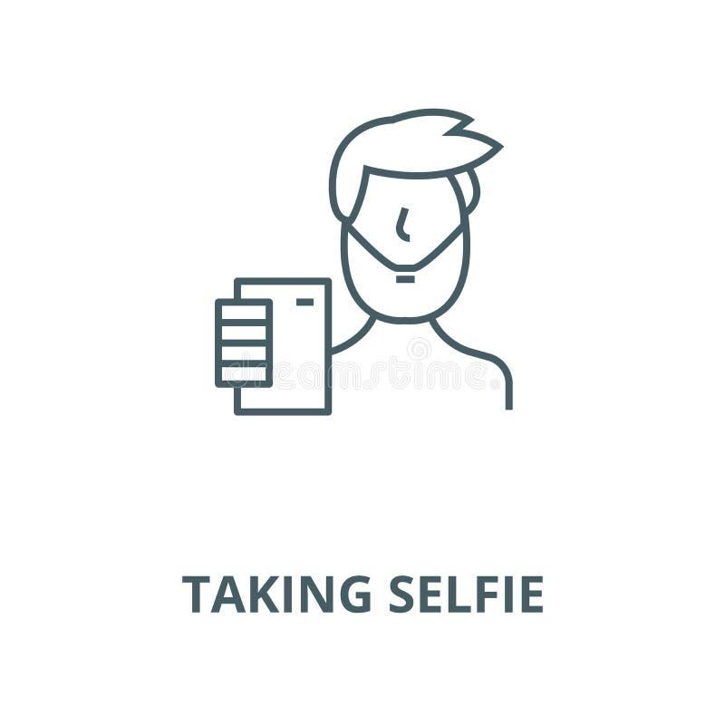 Tomando a linha ícone do vetor do selfie, conceito linear, sinal do esboço, símbolo ilustração stock