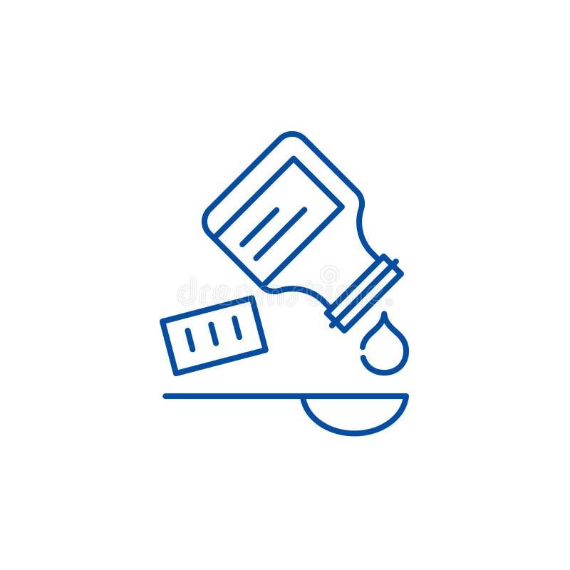 Tomando a linha conceito da medicina do ícone Tomando à medicina o símbolo liso do vetor, sinal, ilustração do esboço ilustração stock