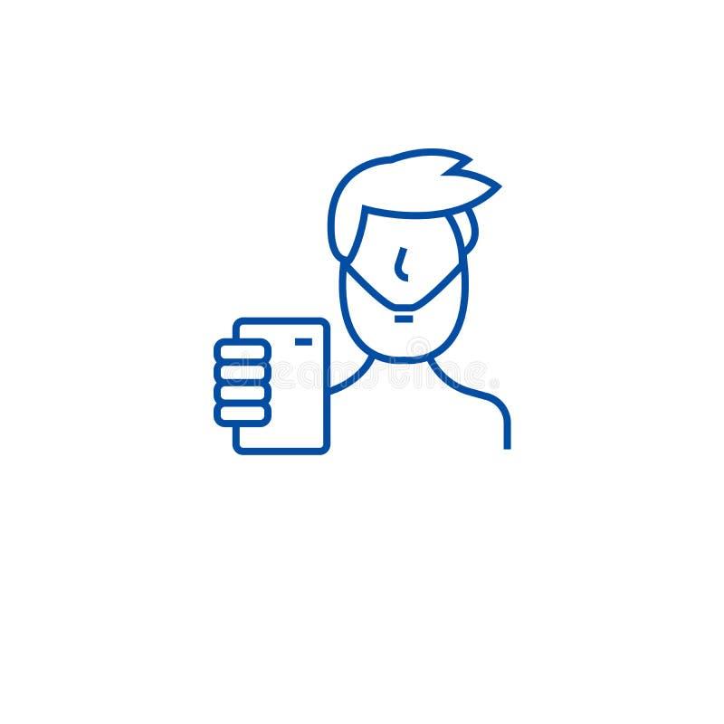 Tomando a linha conceito do selfie do ícone Tomando a selfie o símbolo liso do vetor, sinal, ilustração do esboço ilustração do vetor