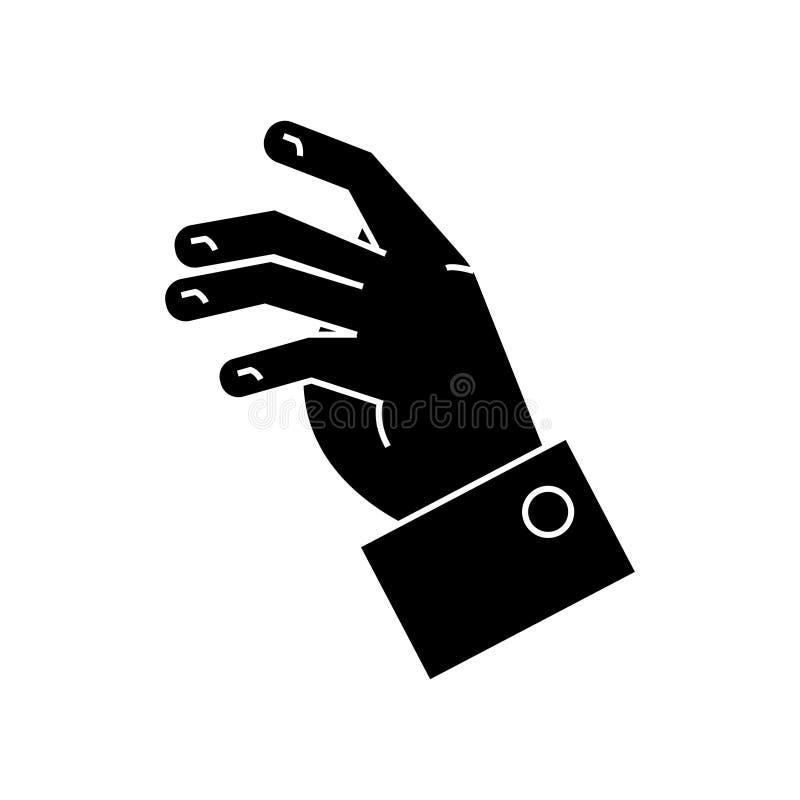 Tomando o ícone da mão, a ilustração do vetor, enegrece o sinal no fundo isolado ilustração do vetor