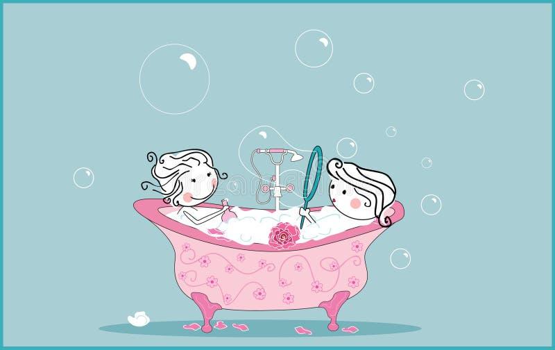 Tomando o banho ilustração stock