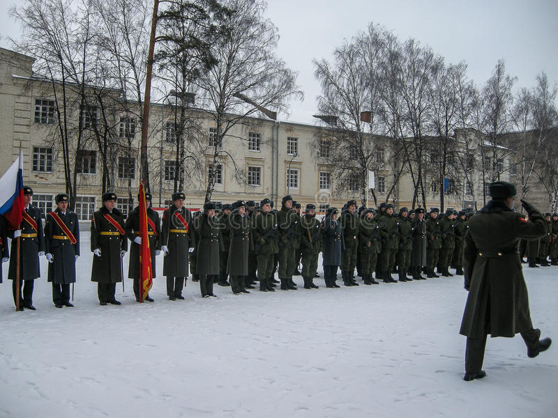 Tomando o juramento na unidade militar do russo na região de Kaluga fotografia de stock