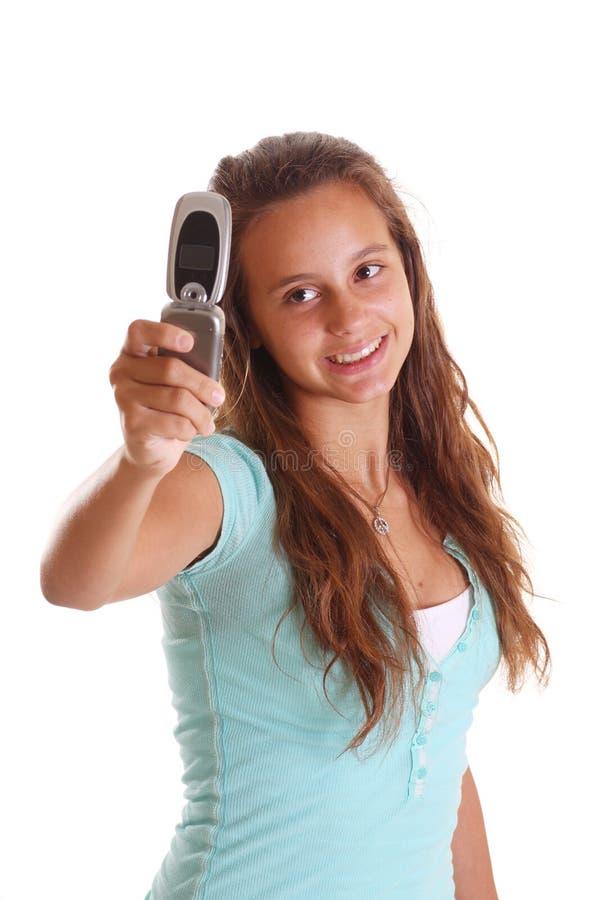 Tomando o retrato do telefone de pilha fotografia de stock