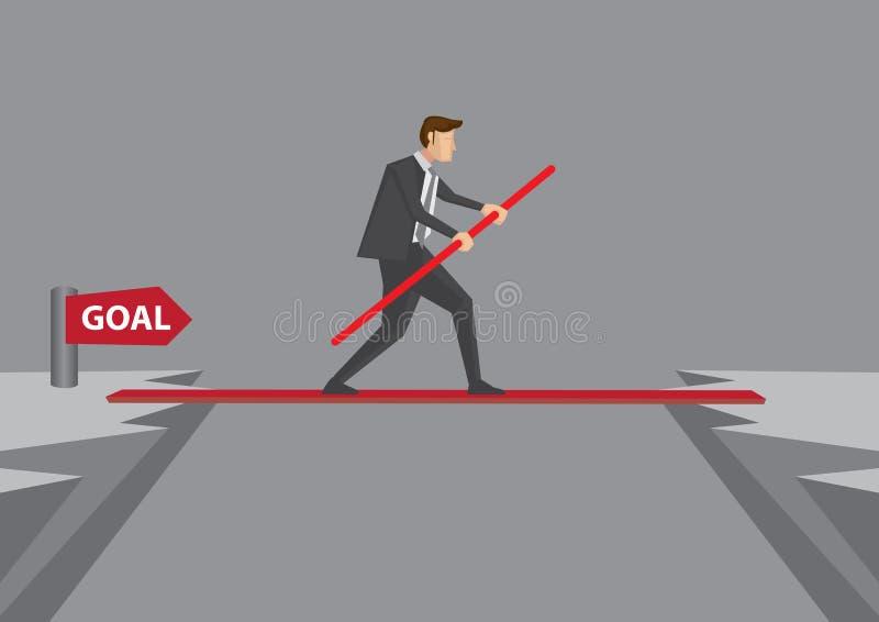 Tomando o risco e superar desafios alcançar o objetivo ilustração royalty free