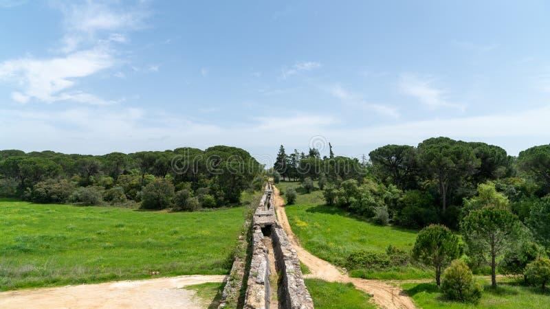 Tomar渡槽在templar城堡附近的 Tomar,葡萄牙 免版税库存图片