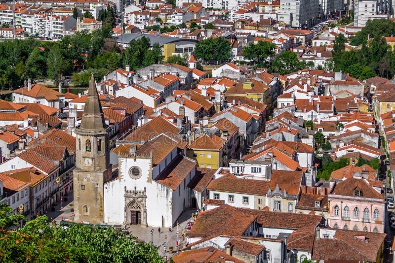 Tomar, Portugal. The city of Tomar with Igreja de Sao Joao Baptista Church royalty free stock photo