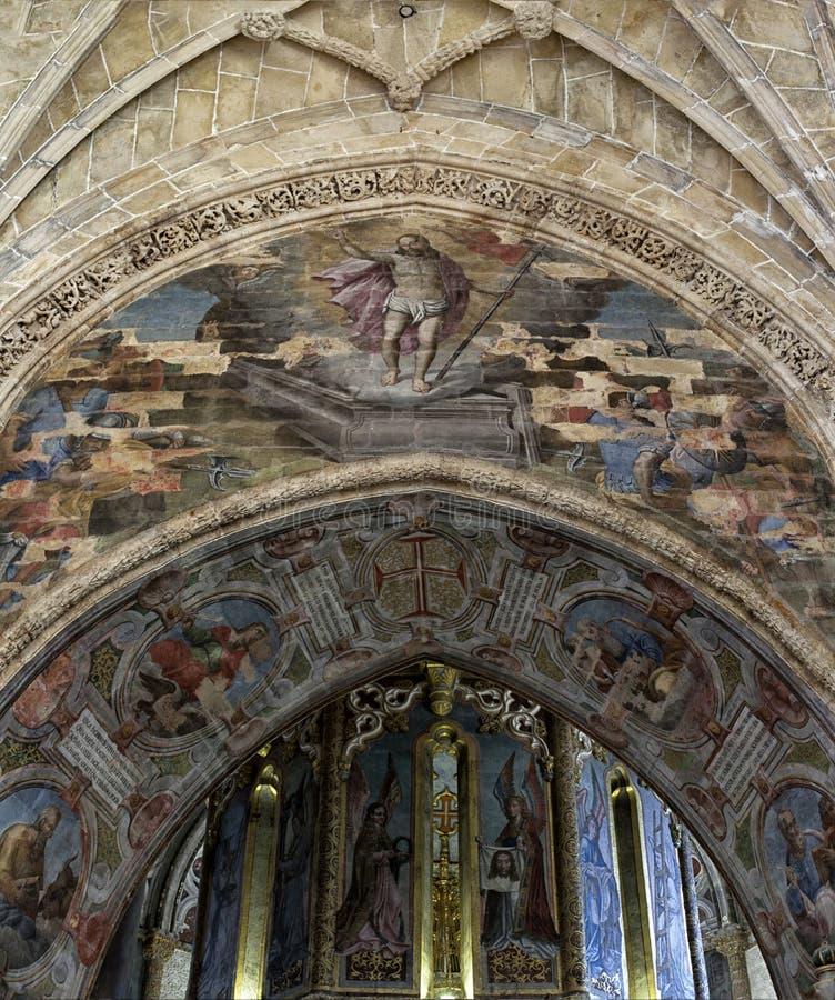 Tomar slott av riddarna Templar, Portugal arkivbild