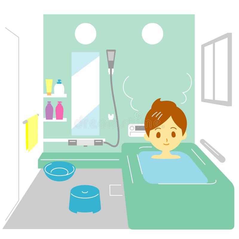 Tomar un baño, mujer ilustración del vector