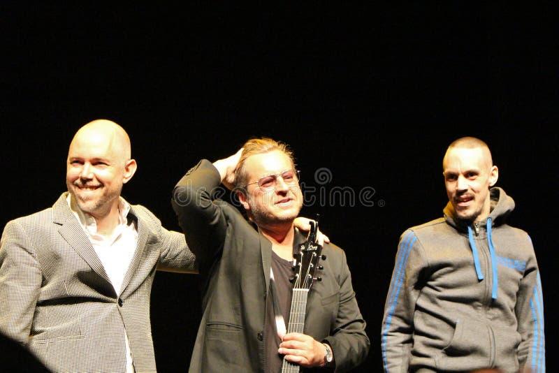 Tomas Andersson Wij, Mauro Scocco y Kleerup - compositores y músicos suecos foto de archivo libre de regalías