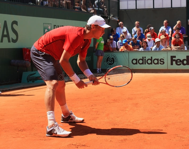 Tomas Berdych at Roland Garros 2011 royalty free stock photography