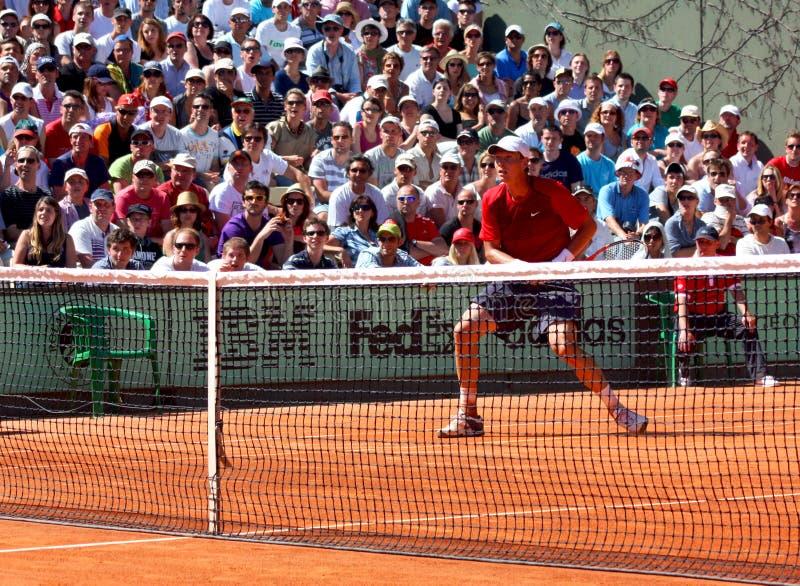 Tomas Berdych at Roland Garros 2011 stock photo
