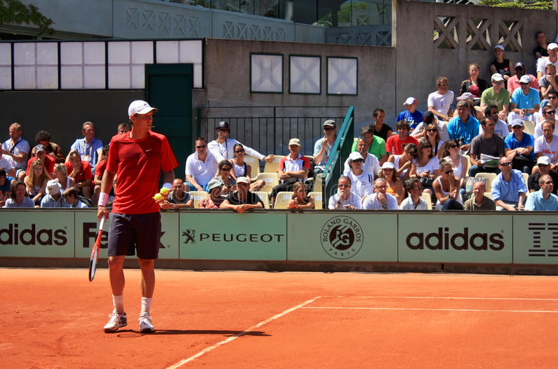 Tomas Berdych at Roland Garros 2011 stock images