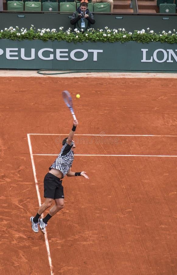 Tomas Berdych at Roland Garros royalty free stock photos