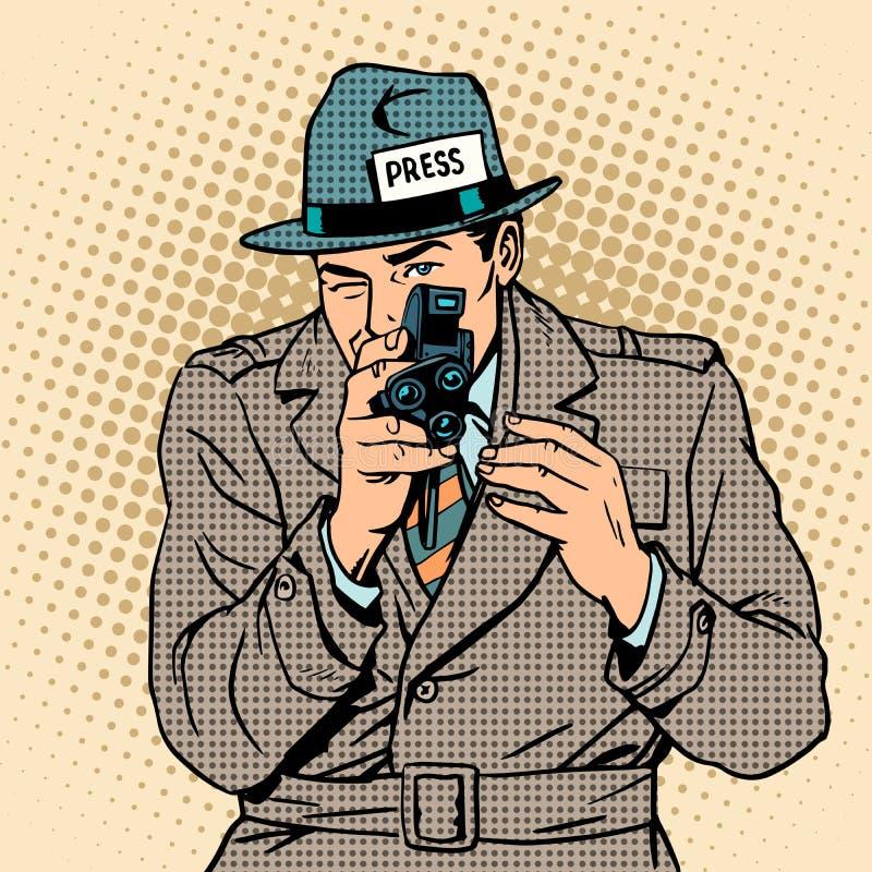 Tomas del periodista en cámara retra Paparazzis ilustración del vector