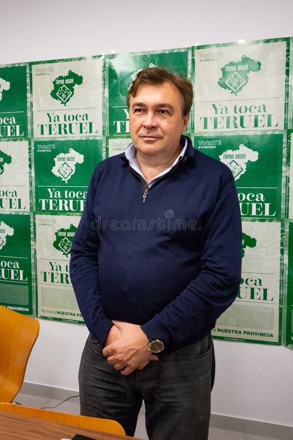 Tomas Guitarte, Spaans politicus van de groepering van kiezers Teruel Existe, en enige vertegenwoordiger van de organisatie royalty-vrije stock fotografie