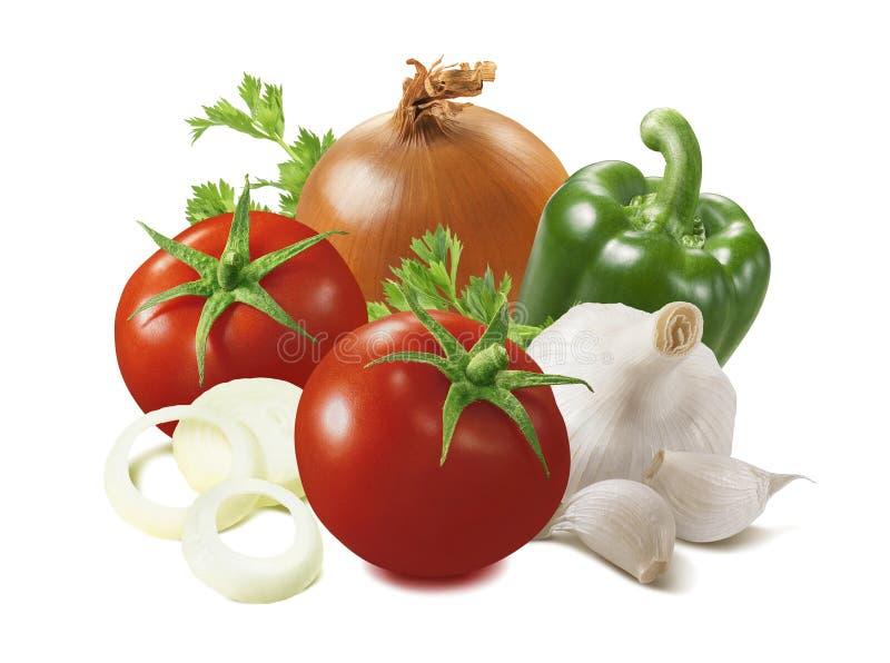 Tomat, lök, grön spansk peppar och vitlök som isoleras på vit bakgrund royaltyfri fotografi