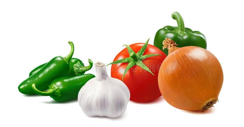 Tomat, lök, grön varm peppar och vitlök som isoleras på vit bakgrund royaltyfri fotografi