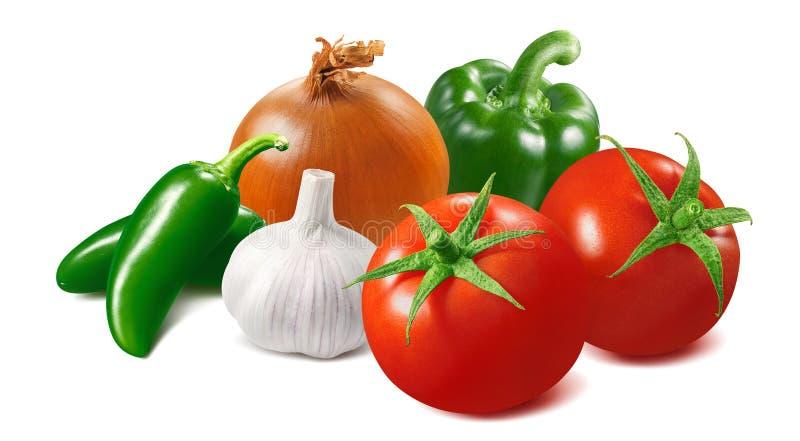 Tomat, lök, vitlök och grön peppar för varm chili som isoleras på vit bakgrund arkivfoto