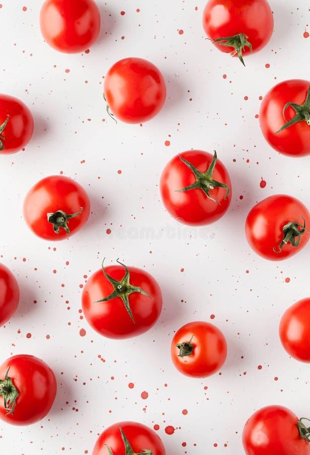 Tomat på den vita bakgrunden med röda målarfärgdroppar arkivfoto