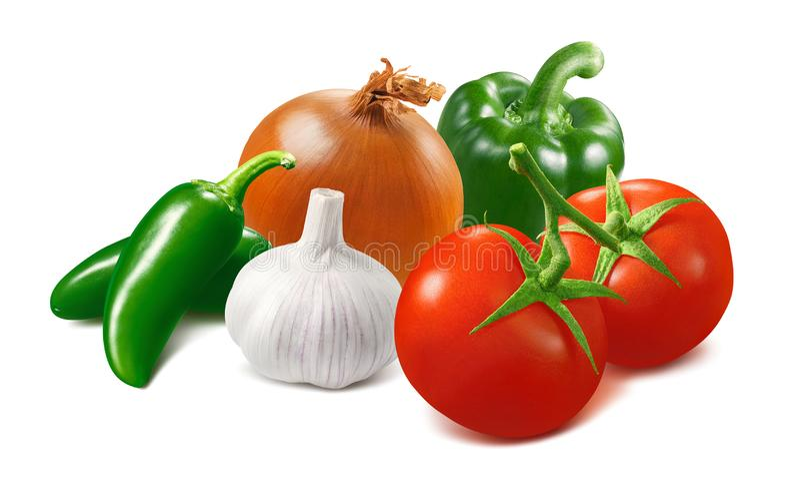 Tomat, vitlök, lök, grön chili och spansk peppar som isoleras på vit bakgrund fotografering för bildbyråer