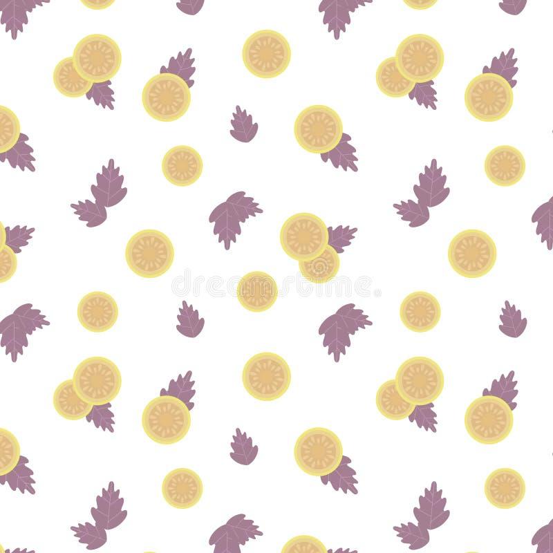 Tomate amarillo claro y hojas púrpuras del modelo inconsútil del vector de la composición de la albahaca aislado en el producto b ilustración del vector
