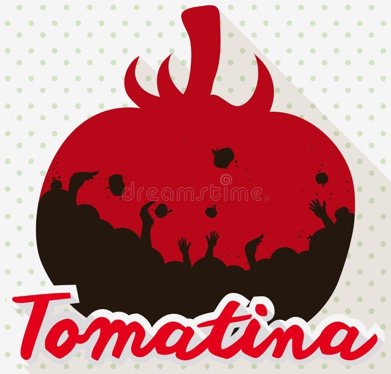 Tomate avec la foule à l'intérieur de elle célébrant le festival de Tomatina, illustration de vecteur illustration stock