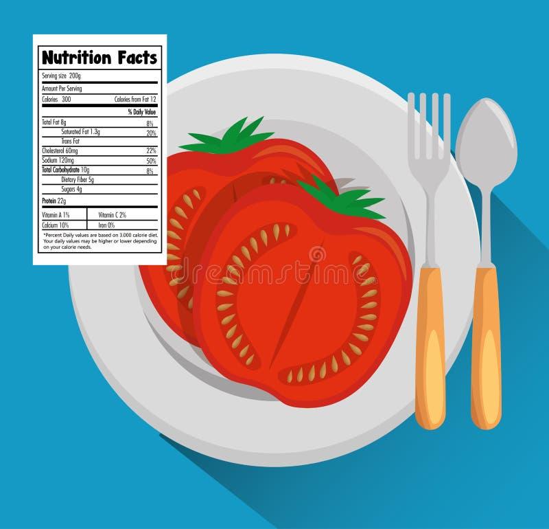 Tomate con hechos de la nutrición libre illustration