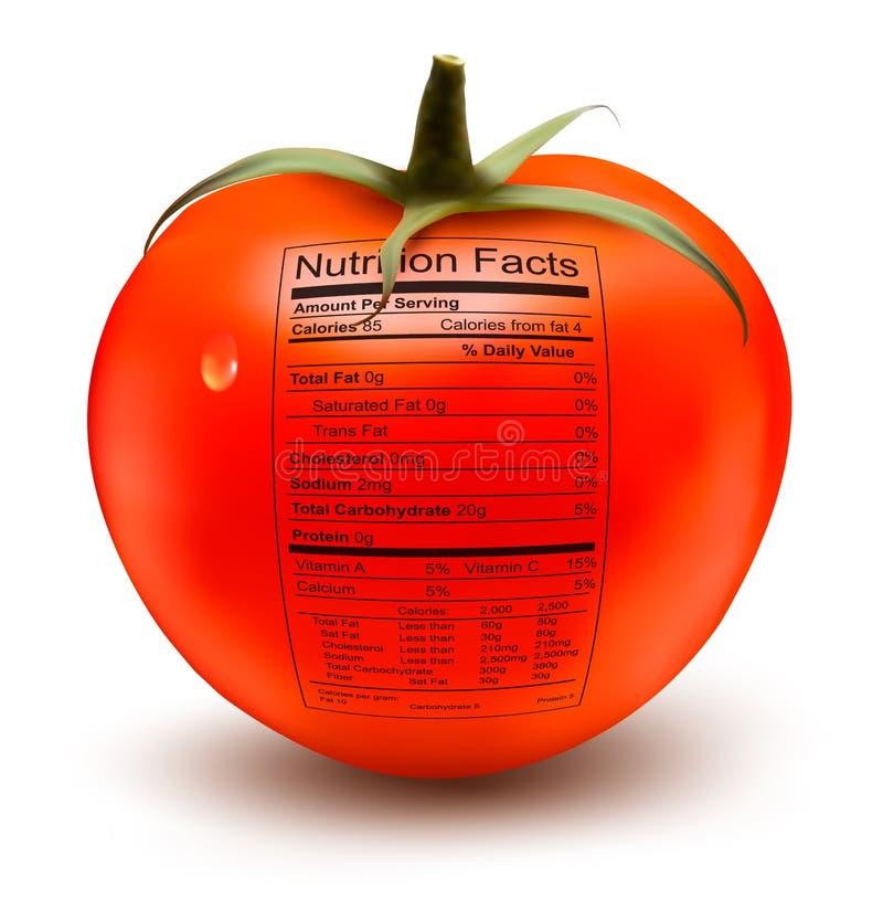 Tomate con una etiqueta de los hechos de la nutrición. ilustración del vector