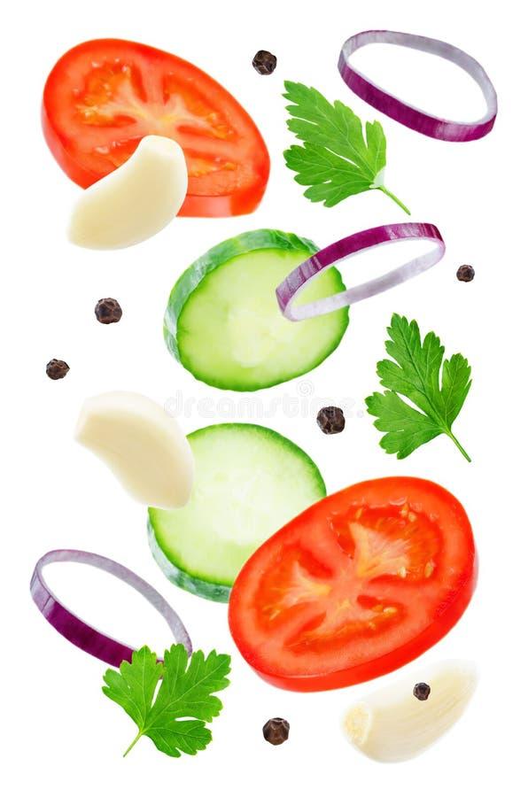 Tomate de vol avec le concombre, l'oignon, l'ail et le persil photo libre de droits
