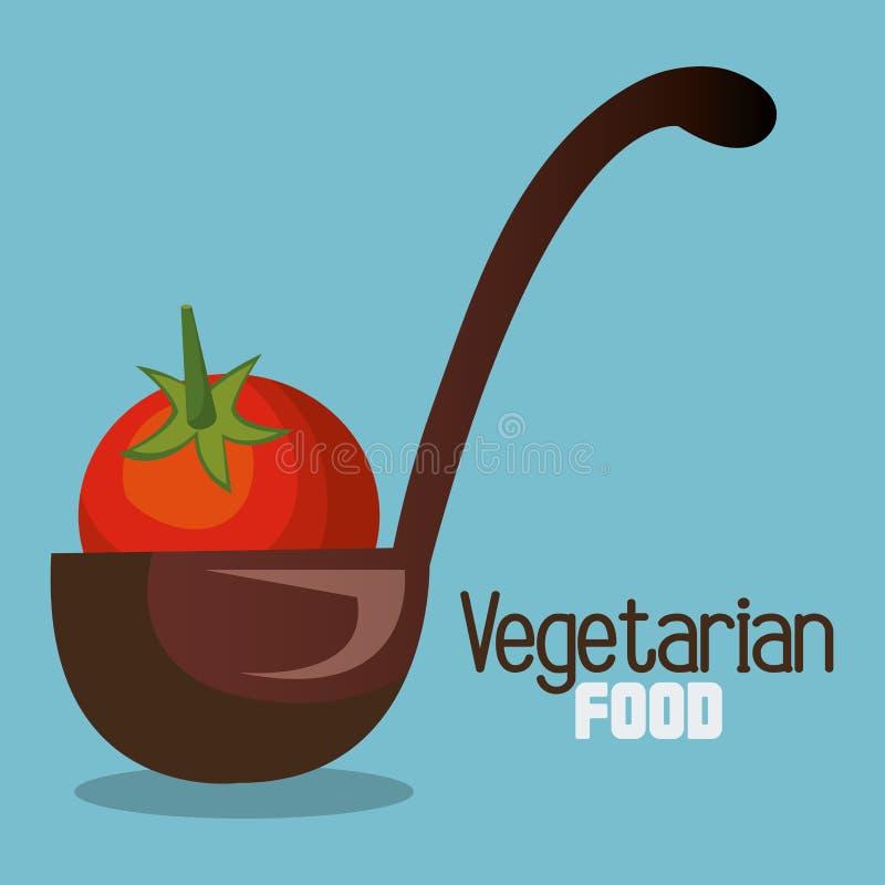 Tomate fresco en comida del vegetariano de la cucharón ilustración del vector